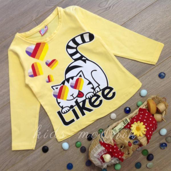 детская одежда недорого Батник детский для девочек - Likee- желтого цвета 1-2-3-4 года