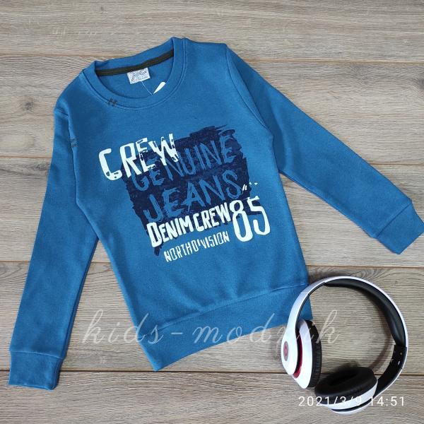 Батник детский для мальчиков -DenimCrew- синего цвета 5-6-7-8 лет