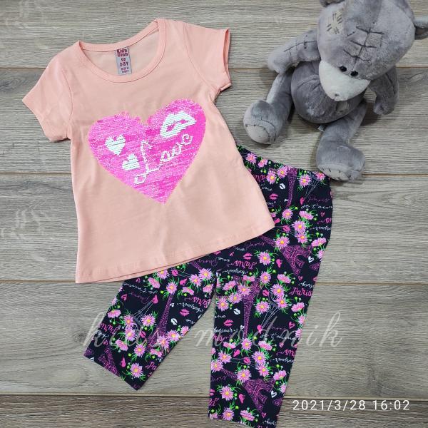 детская одежда недорого Костюм детский летний для девочек -LOVE - персикового цвета 2-3-4-5 лет