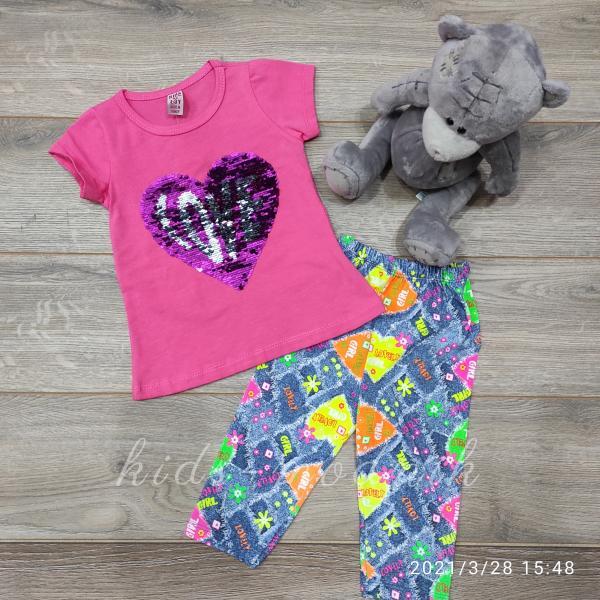 детская одежда недорого Костюм детский летний для девочек -Love - розового цвета с пайетками 2-3-4-5 лет
