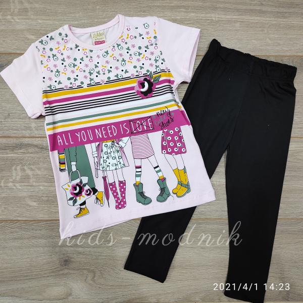 детская одежда недорого Детский летний костюм  для девочек с лосинами -AllYouNeed- светло-розового цвета 4-5-6-7 лет