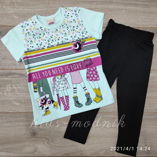 детская одежда недорого  Детский летний костюм для девочек с лосинами -AllYouNeed- светло-бирюзового цвета 4-5-6-7 лет