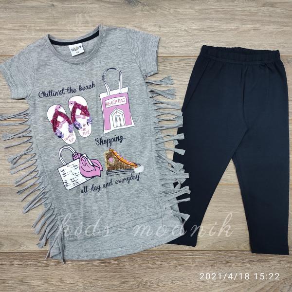 детская одежда недорого Детский летний костюм для девочек с лосинами -Shopping- светло-серого цвета 6-7-8-9-10 лет