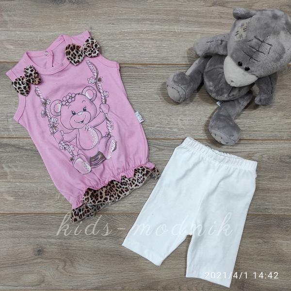 детская одежда недорого Костюмчик детский летний для девочек - Swing- молочного цвета 3-6-9 мес