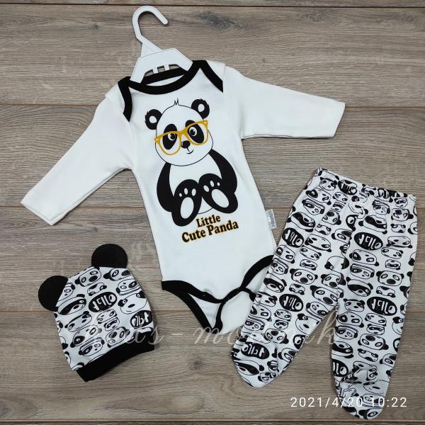 детская одежда недорого Комплект-тройка для новорожденных -Cute Panda - молочный с черным 3-6 мес