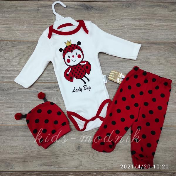 детская одежда недорого Комплект-тройка для новорожденных -Lady Bug - молочный с красным 3-6 мес