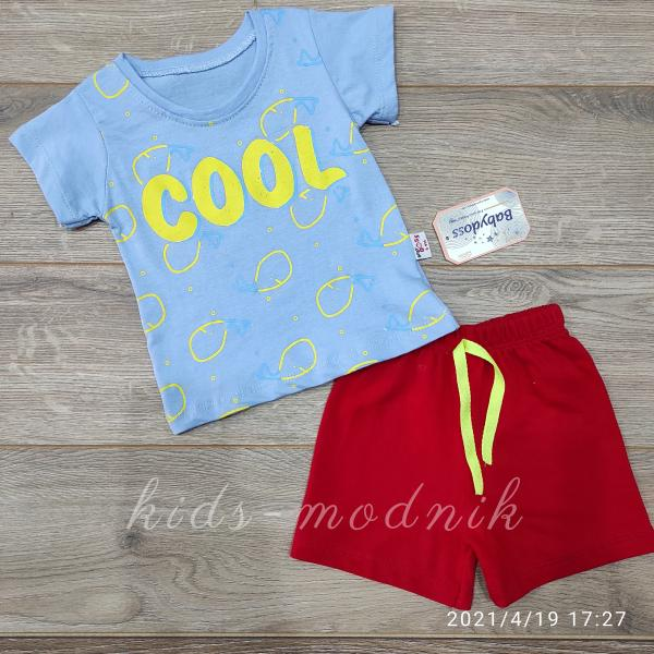 детская одежда недорого  Костюм детский для мальчиков с шортами -Cool- голубого цвета 6-9-12-18 мес