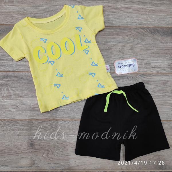 детская одежда недорого  Костюм детский для мальчиков с шортами -Cool- желтого цвета 6-9-12-18 мес