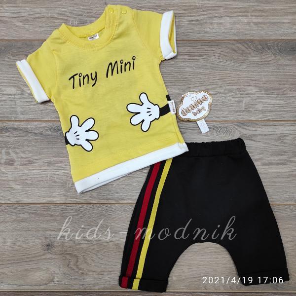 детская одежда недорого Костюм детский для девочек -Tiny Mini - желтого цвета 6-9-12-18 мес