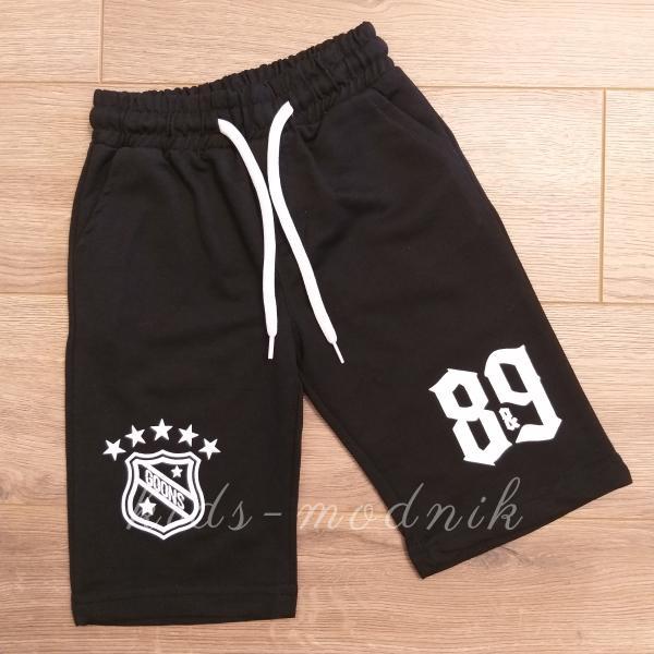 детская одежда недорого Бриджи детские трикотажные для мальчиков -Goons 89- черного цвета 8-9-10-11 лет