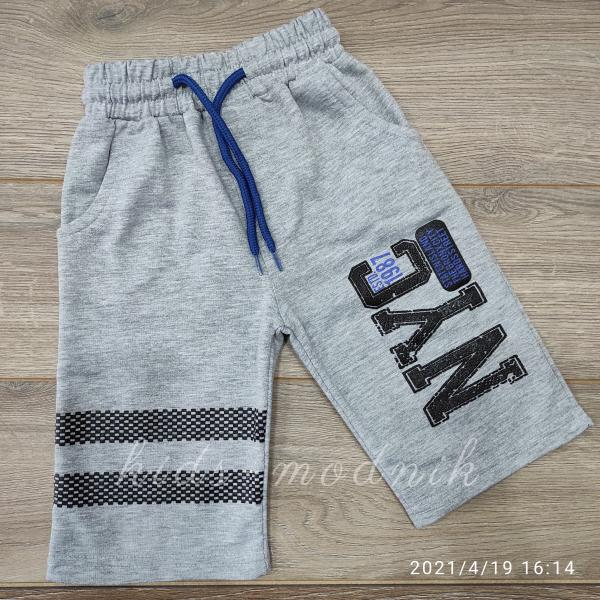 детская одежда недорого Бриджи детские трикотажные для мальчиков -Nyc1987- светло-серого цвета 4-5-6-7 лет