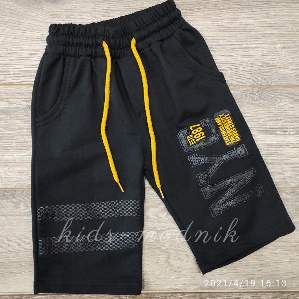детская одежда недорого Бриджи детские трикотажные для мальчиков -Nyc1987- черного цвета 4-5-6-7 лет