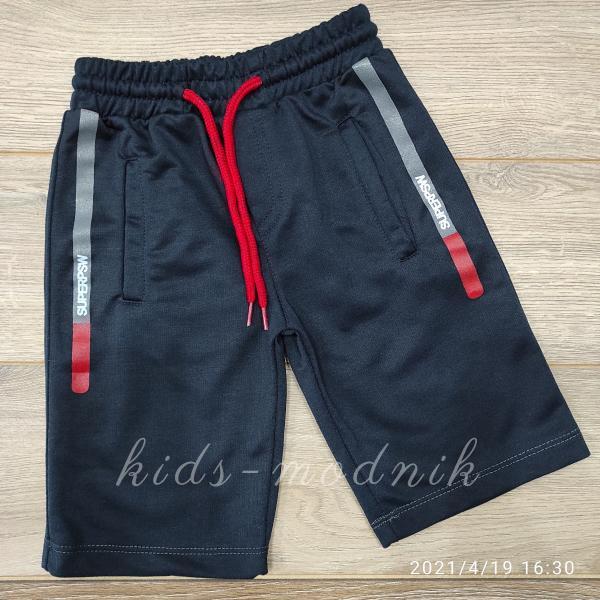 детская одежда недорого Бриджи детские трикотажные для мальчиков -SuperPSW- темно-синего цвета 4-5-6-7 лет