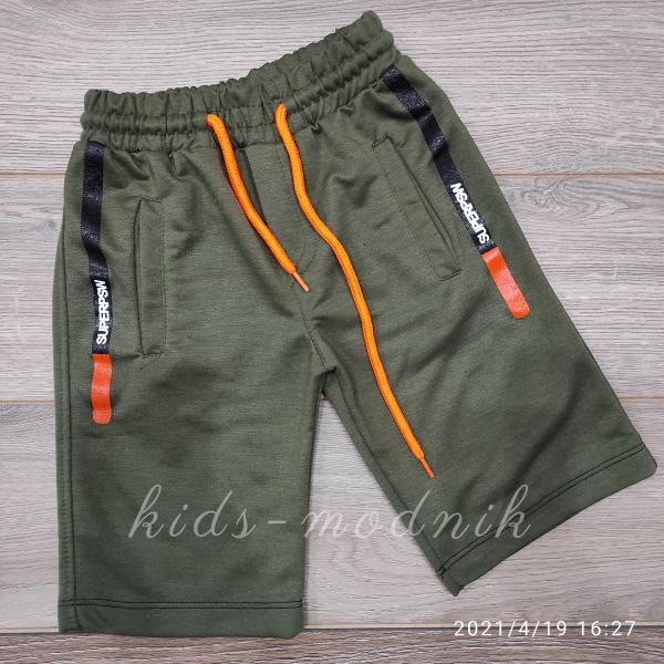 детская одежда недорого Бриджи детские трикотажные для мальчиков -SuperPSW- цвет хаки 8-9-10-11 лет