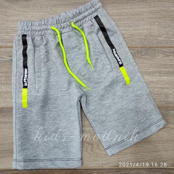 детская одежда недорого Бриджи подростковые трикотажные для мальчиков -SuperPSW- светло-серого цвета 12-13-14-15 лет