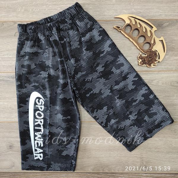 детская одежда недорого Бриджи детские для мальчиков -Sport- серые с черным 5-6-7 лет