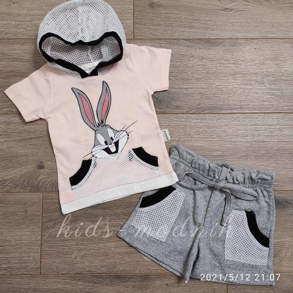 детская одежда недорого Костюм детский летний для девочек -Little Bunny - персикового цвета 6-9-12-18 мес