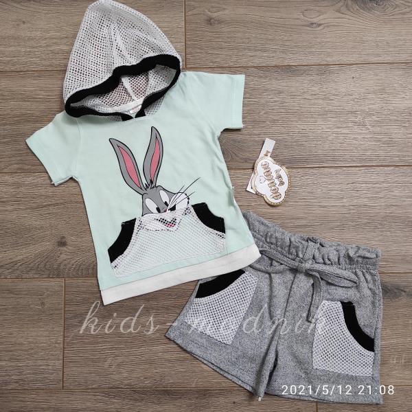 детская одежда недорого Костюм детский летний для девочек -Little Bunny - светло-бирюзового цвета 6-9-12-18 мес