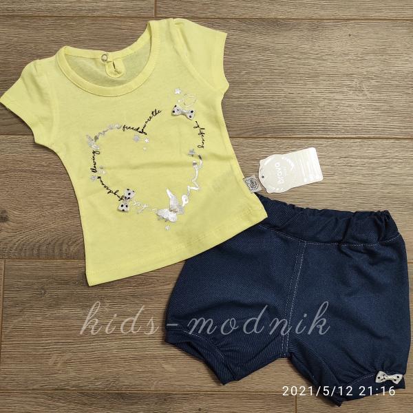 детская одежда недорого Костюм детский летний для девочек -LoveFlower - желтого цвета 6-9-12-18 мес