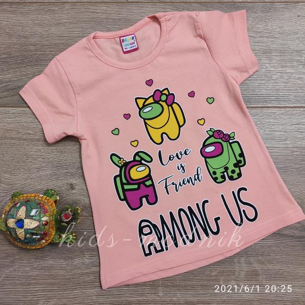 детская одежда недорого Футболка детская для девочек -Among Us - персикового цвета 1-2-3-4 года