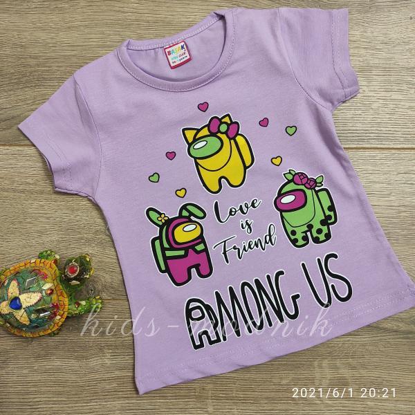 детская одежда недорого Футболка детская для девочек -Among Us - сиреневого цвета 1-2-3-4 года