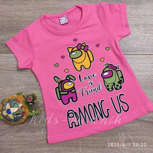 детская одежда недорого Футболка детская для девочек -Among Us - розового цвета 1-2-3-4 года