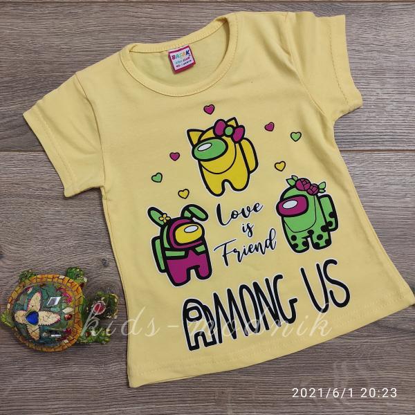 детская одежда недорого Футболка детская для девочек -Among Us - желтого цвета 1-2-3-4 года