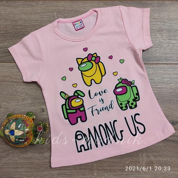 детская одежда недорого Футболка детская для девочек -Among Us - светло-розового цвета 1-2-3-4 года