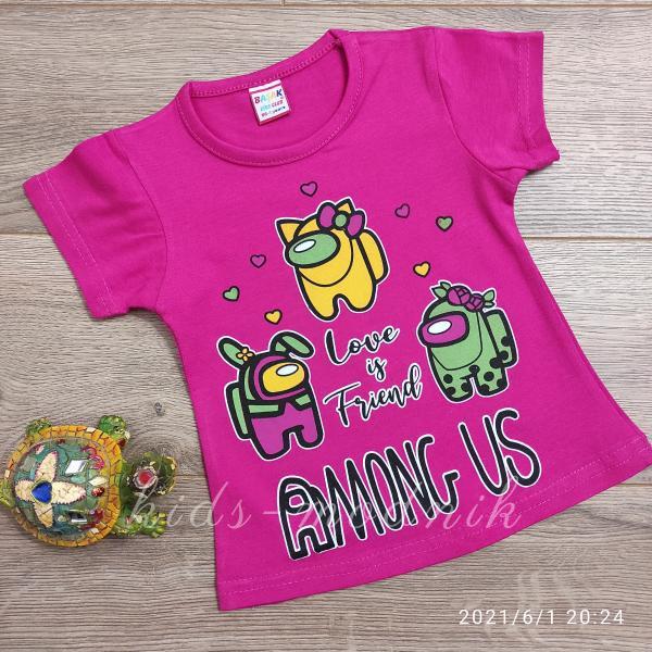 детская одежда недорого Футболка детская для девочек -Among Us - малинового цвета 1-2-3-4 года