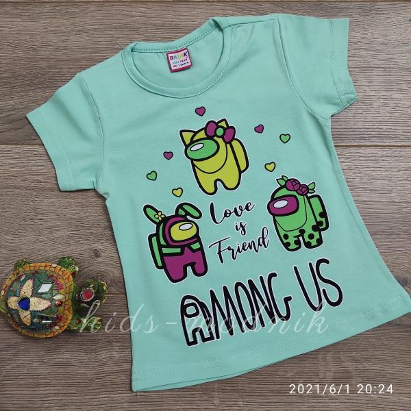 детская одежда недорого Футболка детская для девочек -Among Us - светло-бирюзового цвета 1-2-3-4 года