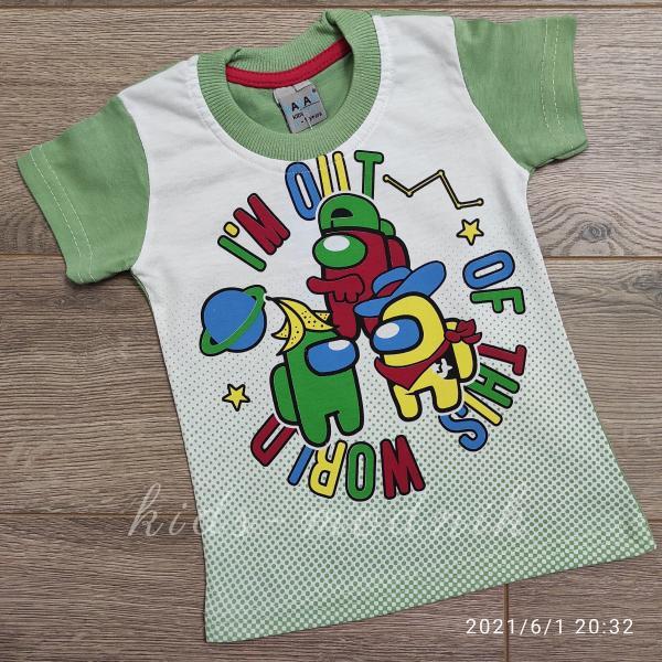детская одежда недорого Футболка детская для мальчиков -Imposter - фисташкового цвета 1-2-3-4 года