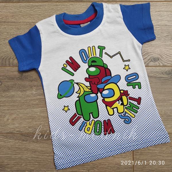 детская одежда недорого Футболка детская для мальчиков -Imposter - цвет электрик 1-2-3-4 года