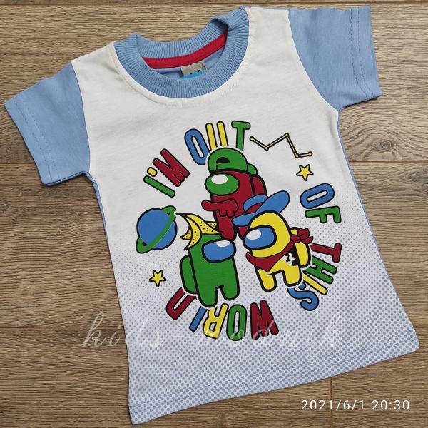 детская одежда недорого Футболка детская для мальчиков -Imposter - голубого цвета 1-2-3-4 года
