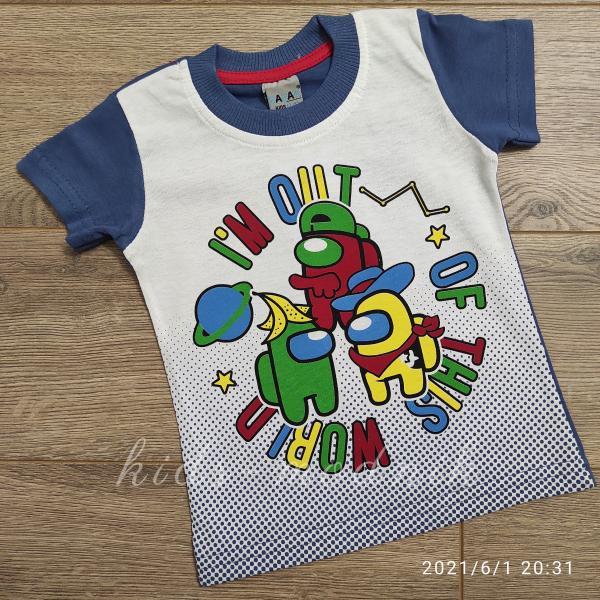 детская одежда недорого Футболка детская для мальчиков -Imposter - синего цвета 1-2-3-4 года