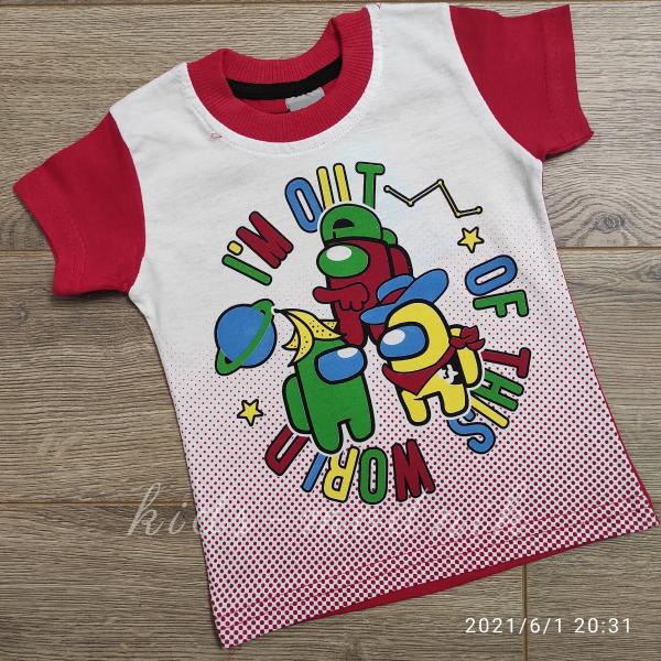 детская одежда недорого Футболка детская для мальчиков -Imposter - красного цвета 1-2-3-4 года