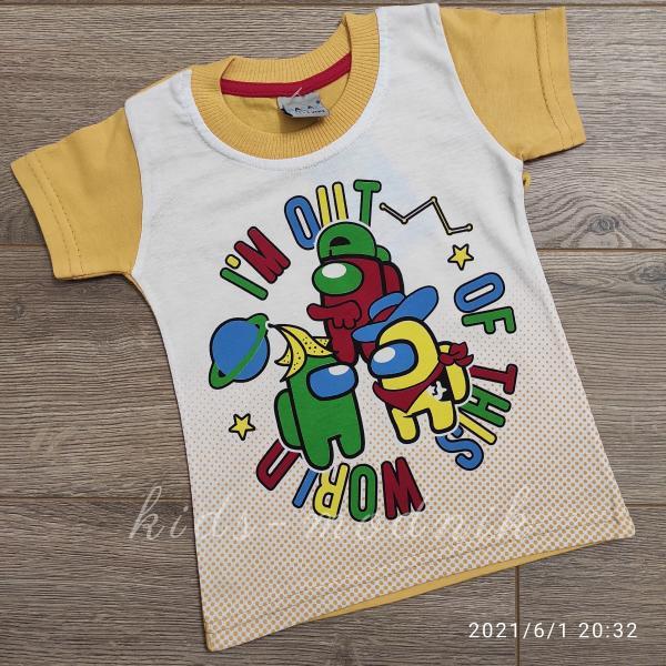 детская одежда недорого Футболка детская для мальчиков -Imposter - желтого цвета 1-2-3-4 года