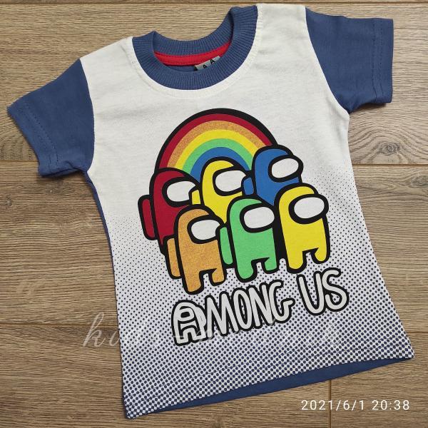 детская одежда недорого Футболка детская для мальчиков -Among Us - синего цвета 1-2-3-4 года