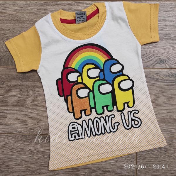 детская одежда недорого Футболка детская для мальчиков -Among Us - желтого цвета 1-2-3-4 года