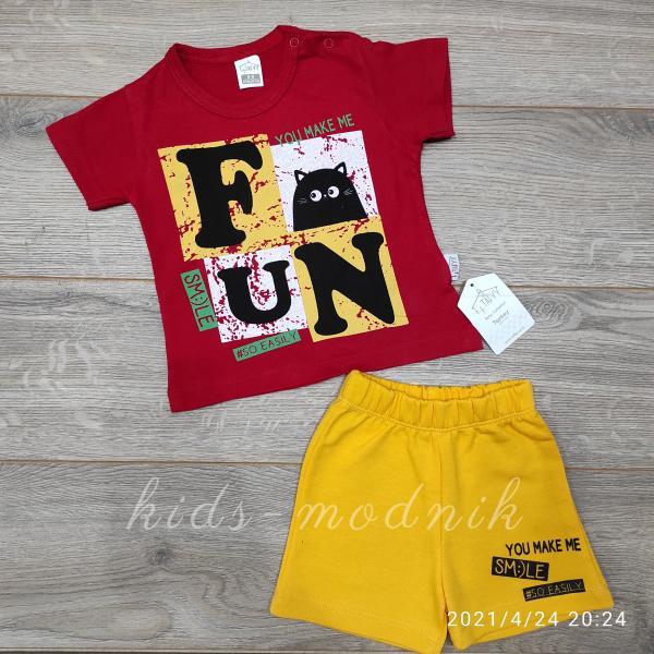 детская одежда недорого Костюм детский для мальчиков с шортами -Fun Smile- красного цвета 6-9-12-18 мес