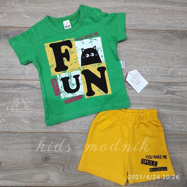 детская одежда недорого Костюм детский для мальчиков с шортами -Fun Smile- зеленого цвета 6-9-12-18 мес