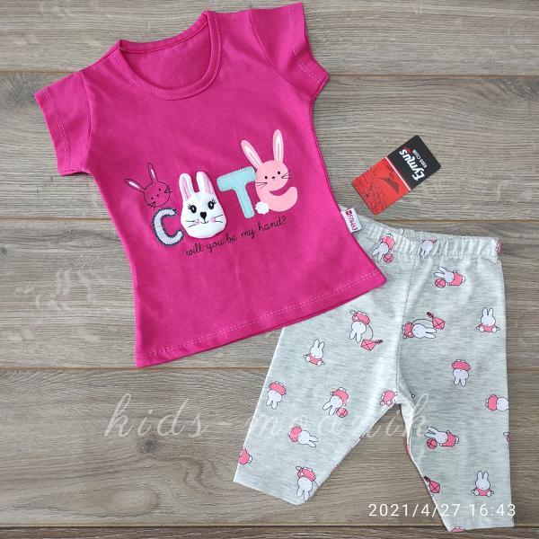 детская одежда недорого Костюм детский летний для девочек -Cute - малинового цвета 1-2-3 года