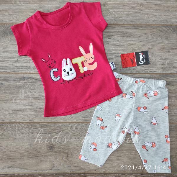 детская одежда недорого Костюм детский летний для девочек -Cute - кораллового цвета 1-2-3 года