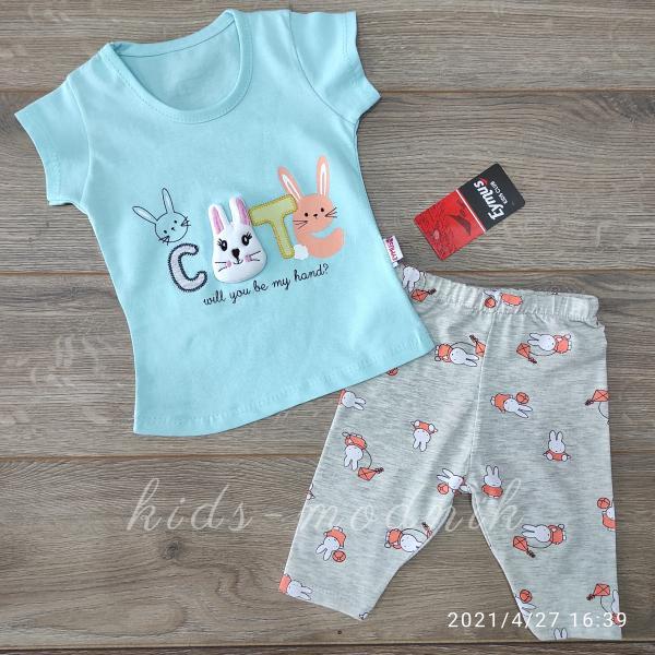 детская одежда недорого Костюм детский летний для девочек -Cute - светло-бирюзового цвета 1-2-3 года