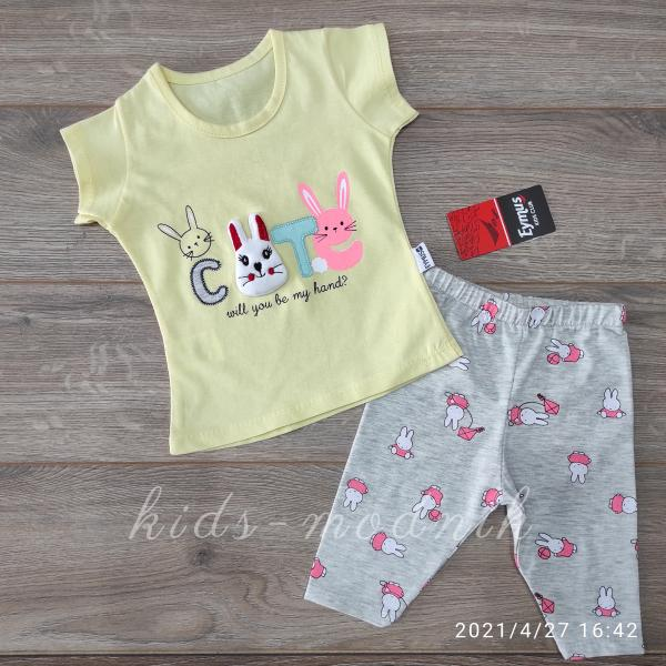 детская одежда недорого Костюм детский летний для девочек -Cute - желтого цвета 1-2-3 года
