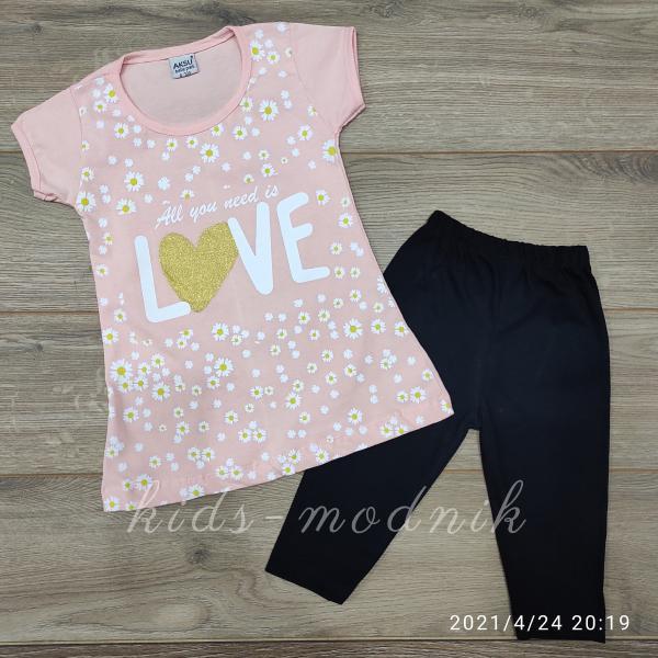 детская одежда недорого Костюм детский летний для девочек -Love - светло-персикового цвета 3-4-5-6 лет