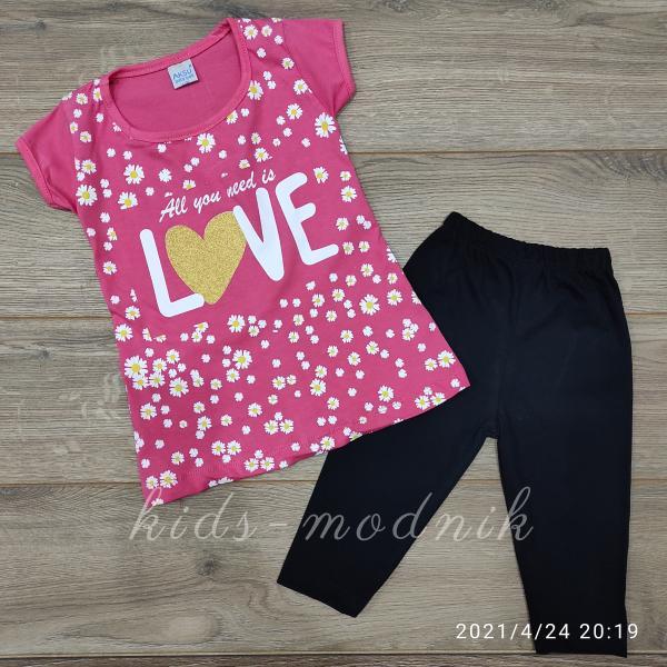 детская одежда недорого Костюм детский летний для девочек -Love - розового цвета 3-4-5-6 лет