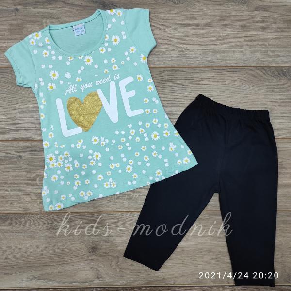 детская одежда недорого Костюм детский летний для девочек -Love - светло-бирюзового цвета 3-4-5-6 лет