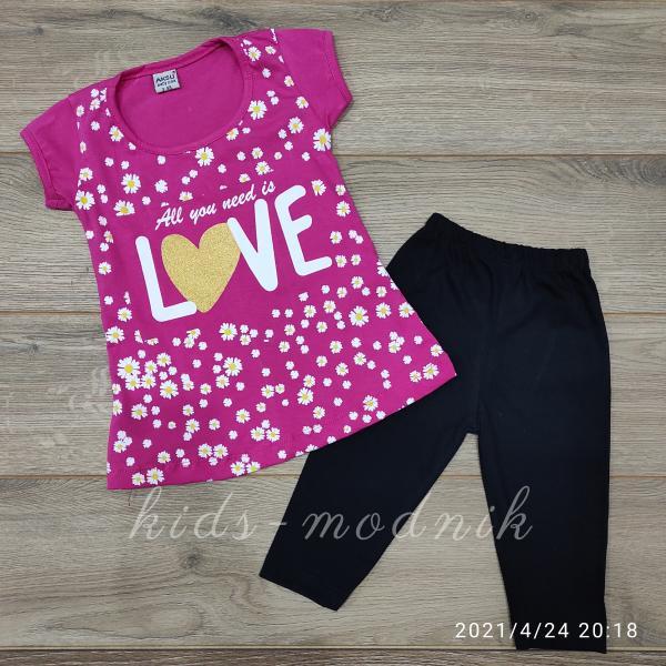 детская одежда недорого Костюм детский летний для девочек -Love - малинового цвета 3-4-5-6 лет