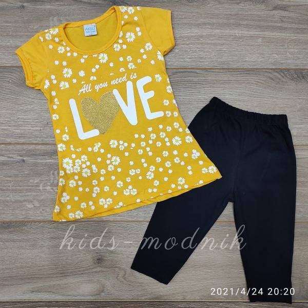 детская одежда недорого Костюм детский летний для девочек -Love - желтого цвета 3-4-5-6 лет