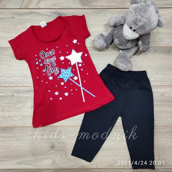 детская одежда недорого Костюм детский летний для девочек -Once upon a time - красного цвета 3-4-5-6 лет